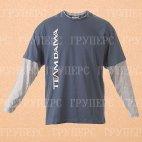 Футболка с длинным рукавом синяя с серым DAIWA TD Long Sleeve T Shirt Navy / Grey размер -  XL / TDTNG-XL