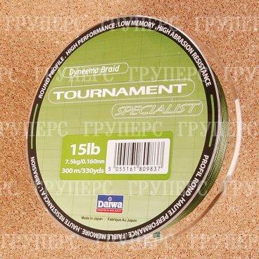Плетеная леска DAIWA Tournament Specialist SP - 15 Lb (300м) (тёмно-зелёная)