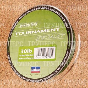 Плетеная леска DAIWA Tournament Specialist SP - 30 Lb (300м) (тёмно-зелёная)