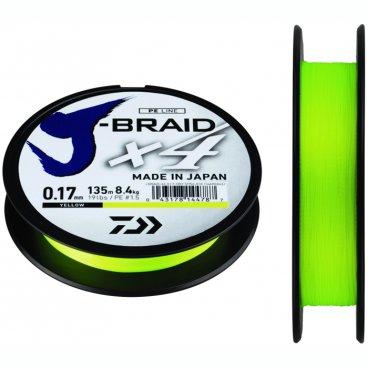 Плетеная леска DAIWA J-Braid X4 Yellow 0.25мм 135м