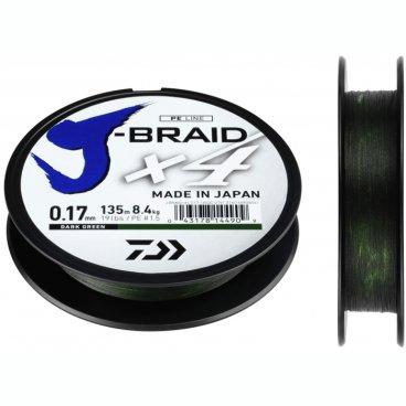 Плетеная леска DAIWA J-Braid X4 Dark Green 0.13мм 135м